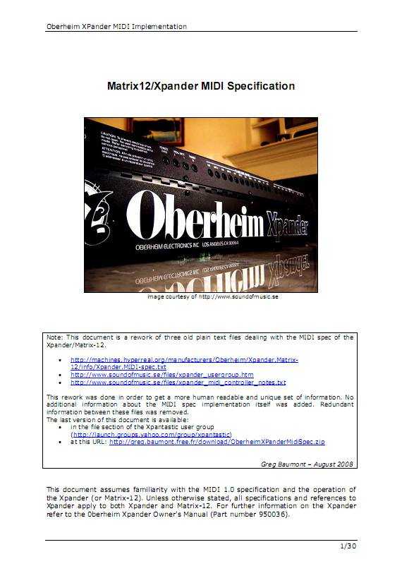 Oberheim Xpander/Matrix-12 MIDI Specification